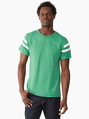 Alternative Men's Short Sleeve Football Tee, True Green/Ivory, Medium
