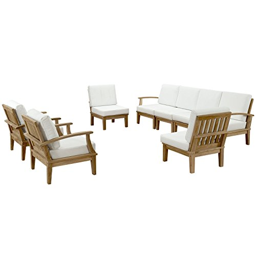 Modern Contemporary Eight PCS Outdoor Patio Teak Sofa Set, White, Fabric, Wood