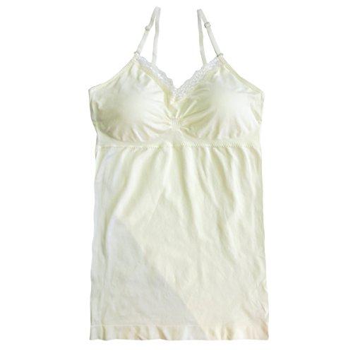 Coobie Padded V-Neck, Lace Trim Cami, Ivory - Cami Stretch Lace Camisole Bra