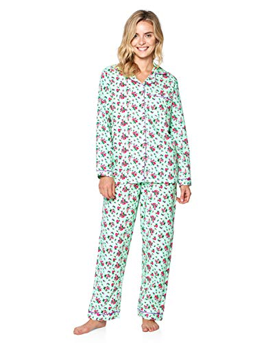 Casual Nights Women's Flannel Long Sleeve Button Down Pajama Set - Green Floral - Large ()