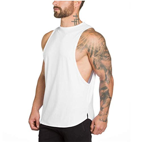 Kaniem Mens Muscle Sleeveless Tank Top Breathable T-Shirt Bodybuilding Sport Fitness Vest (XXL, White) ()