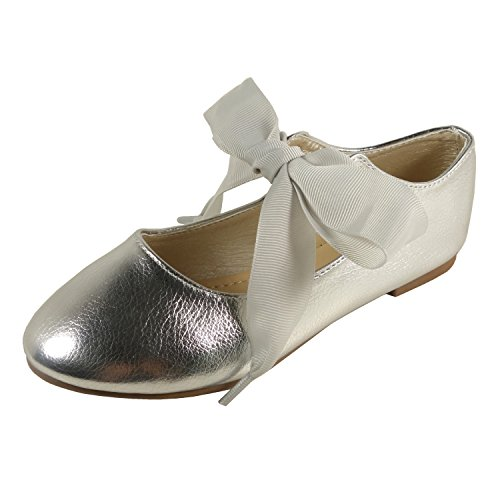 Nova Utopia Toddler Little Girls Ballet Flat Shoes,NF Utopia Girl NFGF211 Silver 12