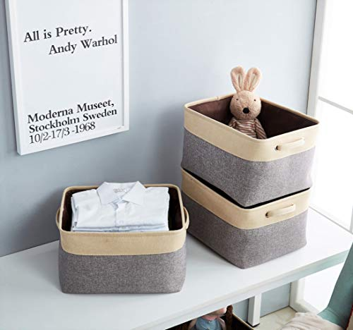 """DECOMOMO Extra Large Foldable Storage Bin [3-Pack] Collapsible Sturdy Cationic Fabric Storage Basket Cube W/Handles for Organizing Shelf Nursery Home Closet & Office - Grey & Beige 15.8 x 12.5 x 10"""" - Organize and Declutter - DECOMOMO's Foldable Storage Bins makes things easy to find. Utilize to organize and store children's toys, books and magazines, files, laundry, supplies and much more! Fashionable and Robust - Matches interior Décor of any household or office. Cleverly label each bin with the provided string and tag with our DIY kit. Personalize your bin with a style that matches any Décor! Rugged, Durable and Sturdy - Storage bin made of attractive canvas with interior lining. Solid hard inner base to help with Structure and Stability. Sewn in handles makes it easy to slide in and pull out from shelves, sectionals, closets, or the office. New version with added base support to make the bins more firm! The Perfect organizational tool. - living-room-decor, living-room, baskets-storage - 41UgGLQXerL -"""