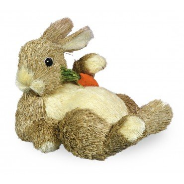 Boston International HA16036 Lounging Bunny With Carrot (Straw Bunny)