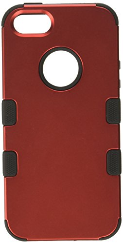 Price comparison product image MyBat Cell Phone Case for Apple iPhone 5, iPhone Se - Retail Packaging - Titanium Red/Black