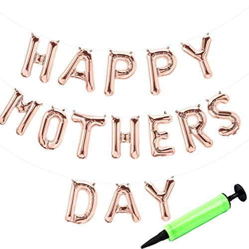 Happy Mother's Day Balloons Banner with Mini Pump, Mother's Day Party Decorations Hanging Foil Rose Gold Balloons Letter Self Sealing Balloons -