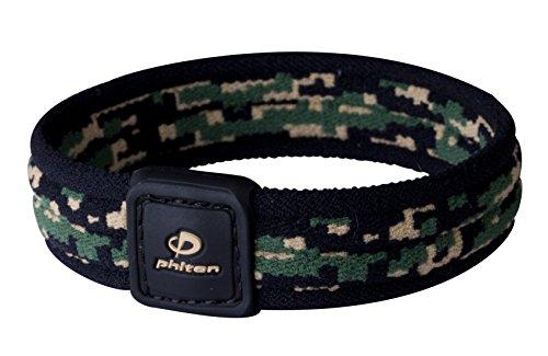 Phiten Digital Camo Titanium Bracelet, Woodland, 6-Inch