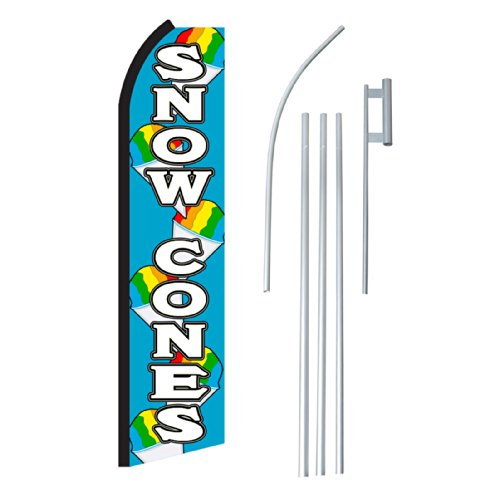 "NEOPlex - ""Snow Cones"" Complete Flag Kit - Includes 12' Swooper Feather Business Flag With 15-foot Anodized Aluminum Flagpole AND Ground Spike"