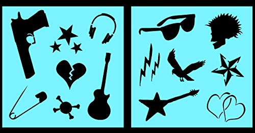Auto Vynamics - STENCIL-PUNKSET02-10 - Detailed Punk Rock Guitars & Hearts Stencil Set - Includes Guitars, Safety Pin, Sunglasses, & More! - 10-by-10-inch Sheet - (2) Piece Kit - Pair of Sheets