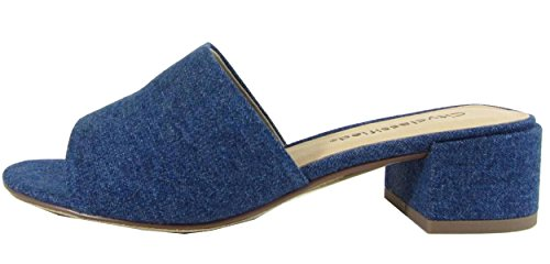 City Classified Women's Block Heel Slip On Clog Mule Sandal (10 B(M) US, Denim (Denim Mules)