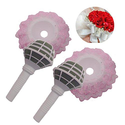 - Steen Elegant Lace DIY Bouquet Holder Bridal Wedding Foam Flower Handle - pink 2Pcs
