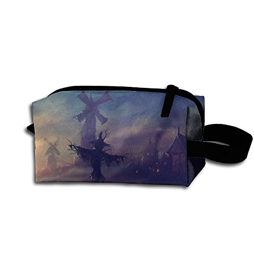 Makeup Cosmetic Bag Happy Halloween Scary Illustration Medicine Bag Zip Travel Portable Storage Pouch For Mens Womens ()