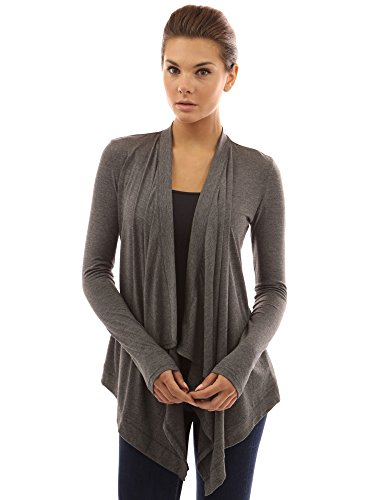 PattyBoutik Women's Drape Front Asym Hem Light Cardigan (Dark Gray L)