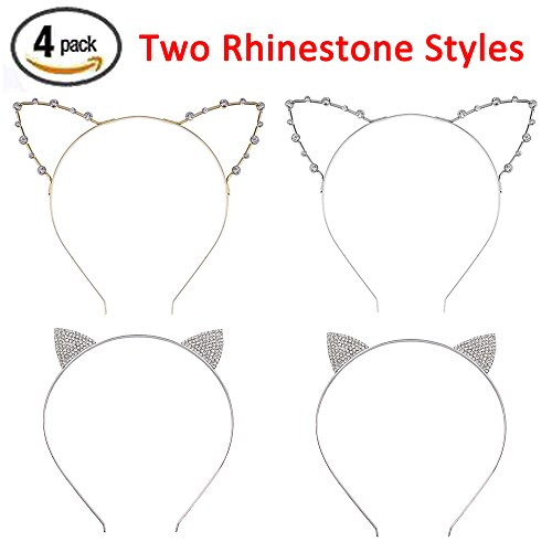 Hot Halloween Costume Party Pics (Cat Headband Rhinestone Cat Ear Headband Crystal Hair Hoop Girls Kids Party Decoration Headdress Cosplay Costume Headwear Halloween Makeup Handmade Headpiece Hair Band Elastic Hair Accessories 4 Pack)