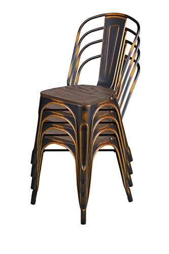 LCH Industrial Metal Wood Top Stackable Dining Chairs, Set of 4 Vintage Indoor/Outdoor Stackable Bistro Cafe Chairs with Back, 500LB Limit, Antique Bronze by LCH (Image #6)