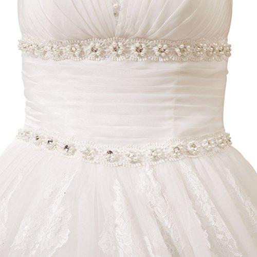 Coloredress Perles Élégante Robe De Mariée Ligne D'ivoire