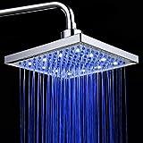 PowerLead SH001 Bathroom Temperature Sensor 3 Color-Changing LED Overhead Shower Head 3 Color-Changing LED Overhead Shower Head