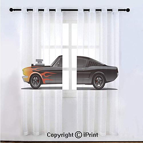 (Cars Semi Sheer Voile Window Curtain With Drapes Grommet,Custom Design Muscle Car with Supercharger and Flames Roadster Retro Styled Decorative,for Bedroom,Living Room & Kids Room(108