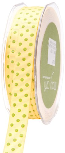 - May Arts 5/8-Inch Wide Ribbon, Yellow and Green Grosgrain Polka Dot