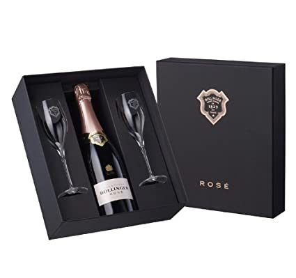 Bollinger Champagne Rose Gift Set with 2 Branded Flutes NV: Amazon.co.uk: Grocery