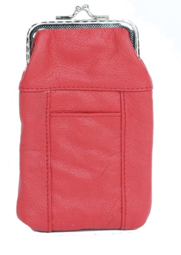 Womens Leather Cigarette Case   Lighter Holder  Red