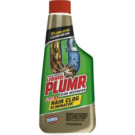 Liquid-Plumr Pro-Strength Clog Remover, Hair Clog Eliminator, 16 oz (Pack of 6) + Handi Wipes