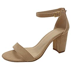 Wild Diva Women's High Heel Sandals NITA-01 (US Sizes Natural Faux Suede)