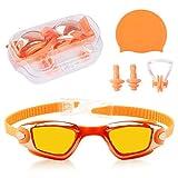Swim Accessories Kit - Delaman UV Protection Swim Goggles Goggles Swimming Caps Earplugs Nose Clip for Boys and Girls