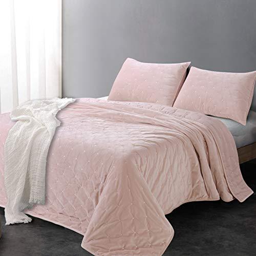 Sleeping Partners AQTKEM004 Luxe Embroidered Dot Microfiber Velvet 3 Piece Quilt Set, King, Blush Pink (Renewed)