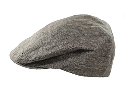 (Biddy Murphy Men's Linen Flat Irish Hat Lightweight Charcoal Made in Ireland Medium)