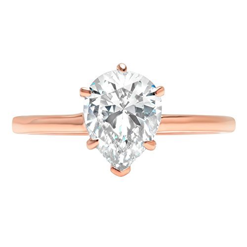 Pear Brilliant Cut Classic Solitaire Designer Wedding Bridal Statement Anniversary Engagement Promise Ring Solid 14k Rose Gold, 1.45ct, 8.25 by Clara Pucci