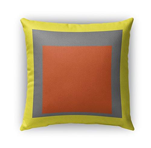 (KAVKA DESIGNS Color Theory Blocks Indoor/Outdoor Throw Pillow, Yellow, Grey, Orange - 26