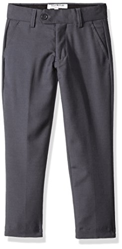 Isaac Mizrahi Boys' Big Wool Blend Slim Pant, Charcoal, 14 Husky