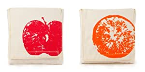 Fluf Reusable Sandwich & Snack Bags (Set of 2), Apples and Oranges