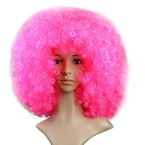 Willsa Fashion Charm Party Disco Funny Afro Clown Hair Football Fan-Adult Afro Masquerade Hair -