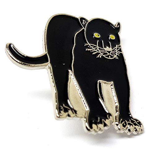 Metal Enamel Black Panther Pin Badge with Gift Pouch