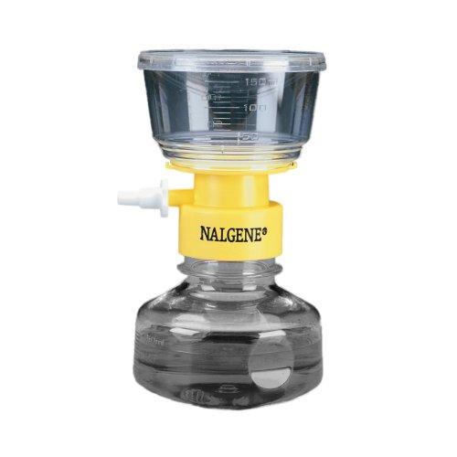 Nalgene MF75 series Polystyrene Lab Bottletop Filter, Fits 45mm Neck, Sterile, Yellow Collar, 0.45 Micron, 50mm Membrane Diameter, 150mL Capacity (Case of 12) by Nalgene