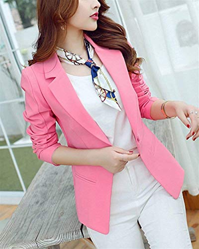 Blazer Primaverile Lunga Giacca Semplice Con Giacche Tailleur Puro Da Button Business Tasche Colore Eleganti Manica Pink Grazioso Glamorous Alla Donna Autunno Bavero Moda Ufficio Cappotto 5FOaAxw