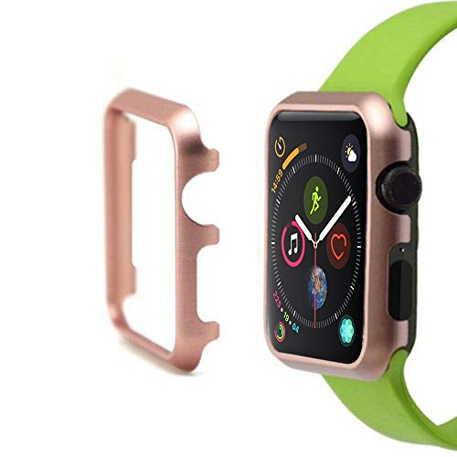 Tuscom for Apple Watch Case 40mm, Metal Aluminum Apple Watch Face Case Full Protective Frame iWatch Bumper Cover Shockproof Protector Slim Shell Compatible with Apple Watch Series 4 (Rose Gold)
