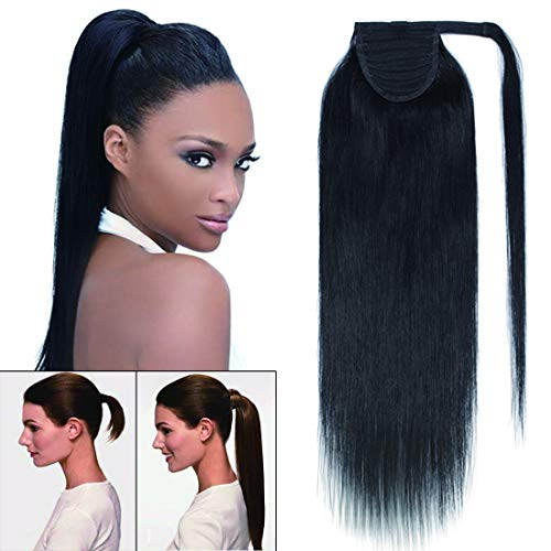 100% Remy Human Hair Wrap Around Tie Up Ponytail Clip in/on Drawstring Binding Hair Extension One Piece Straight Highlights Ribbon Pony Tail Hairpieces for Woman #01 Jet Black 18 inches ()