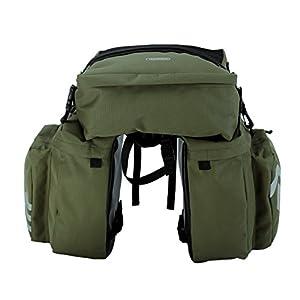 Roswheel 14892 3 in 1 Multifunction Bike Bicycle Rear Rack Panniers Back Seat Cargo Trunk - Army Green