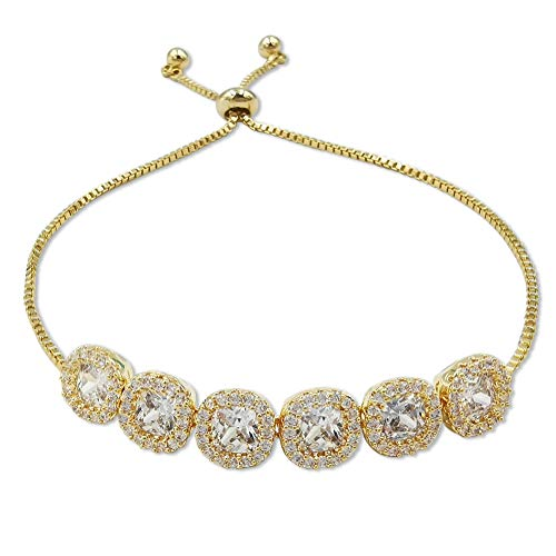 EXGOX Bracelet Round Shape 18K Gold Plated Adjustable Snake Chain with Shinning Square Ball Bracelet Jewelry Sets for Woman and Girls