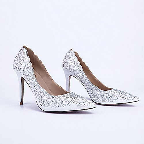Minitoo Ladies MA04174 Cut Out Floral Closed Toe Sheepskin Wedding Party Evening Prom Dress Shoes White t5pN7