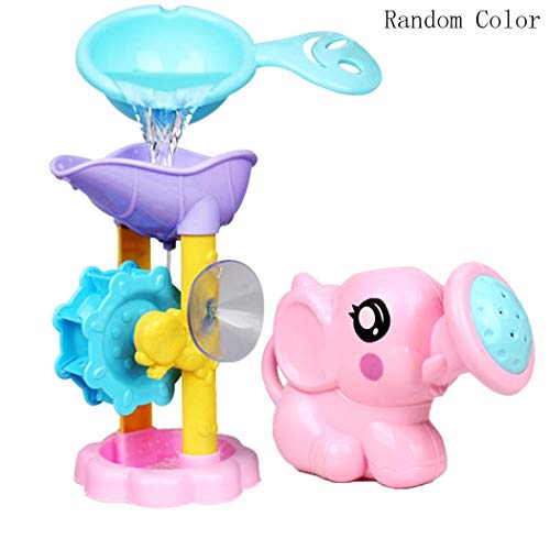 Elephant Bathtub - Lunir Kids Elephant Shower Waterwheel Spoon Suit Baby Child Water Shower Toy Set Bath Toys