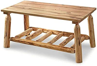 Selva Natural Pine Log Coffee Table - Weathered Look Wooden Table | Heavy Duty Genuine Solid Rustic Charm Modern Contemporary Wood Furniture| for Cabin Beach House Home Bedroom Living Room Apartment