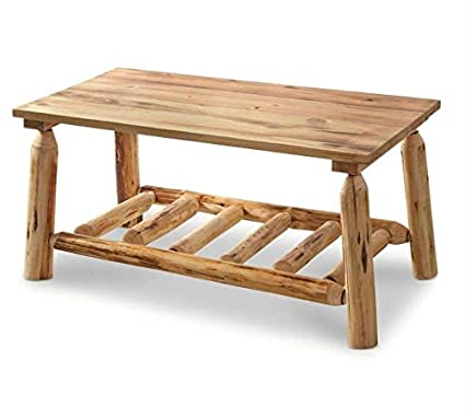 Selva Natural Pine Log Coffee Table   Weathered Look Wooden Table   Heavy  Duty Genuine Solid