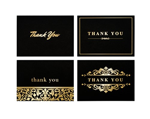 100 Stunning Gold Foil Thank-You Cards Bulk - Perfect for Wedding, Graduation, Baby Shower, or Business - 4x6 Photo Size - Crafted in the USA with Thick 12PT Card - Usa Cards