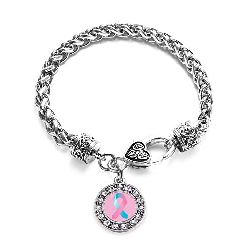 Inspired Silver - SIDS Awareness Ribbon Braided Bracelet for Women - Silver Circle Charm Bracelet with Cubic Zirconia Jewelry -