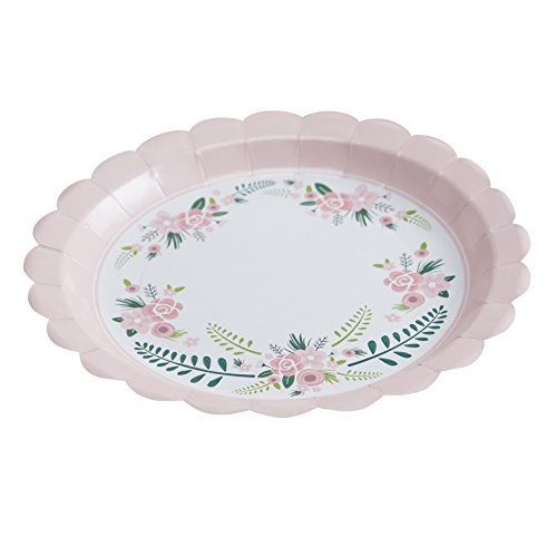 Ginger Ray Floral Fancy Design Party Paper Plates, Mixed -