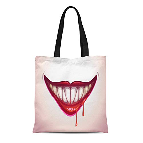 Semtomn Canvas Bag Resuable Tote Grocery Adorable Shopping Portablebags Red Clown Vampire Mouth Creepy Lips in Blood Halloween Smile Natural 14 x 16 Inches Canvas Cloth Tote Bag ()